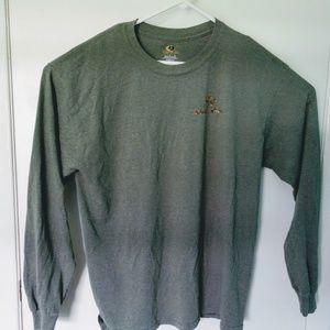 Mens Mossy Oak Tshirt Long Sleeve Green Spell Out